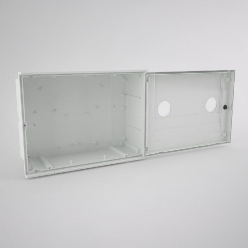 GAS-2-2ml Armario vacío para contador de gas con 2 mirillas (2 abonados) 700 x 520 x 220